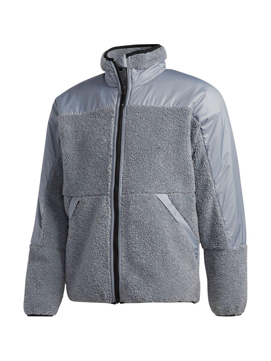 Adidas Fleece Zip Jacket, grey/orange - Fleecejacke, Größe S FJ7494-230