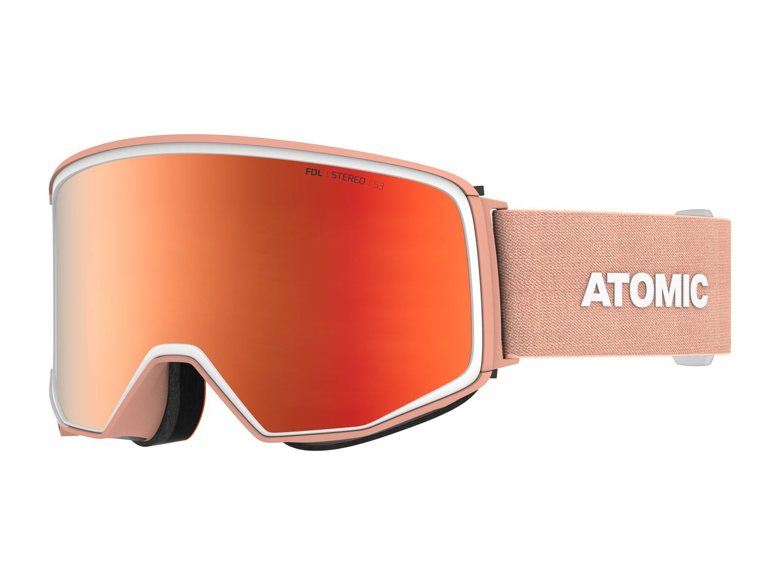 Atomic Four Q Stereo inkl. WS, peach sunshine/Lens: red - Skibrille AN5105972