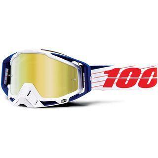 100% Racecraft inkl. WS, bilal/white/Lens: mirror gold - MX Brille