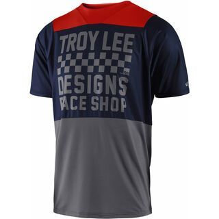 TroyLee Designs Skyline Checker S/S Jersey, navy/gray - Radtrikot