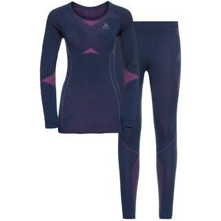 Odlo Women's Performance Evolution Light Baselayer Set, navy/purple