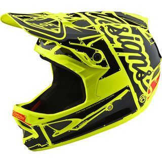 TroyLee Designs D3 Fiberlite Helmet Factory, flo yellow - Fahrradhelm
