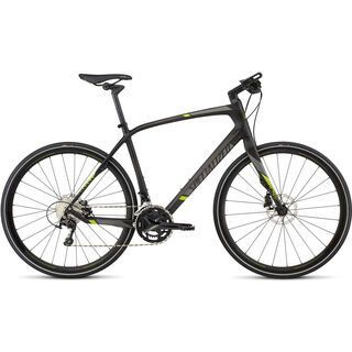 Specialized Sirrus Expert Carbon Disc 2017, carbon/charcoal/hy green - Fitnessbike