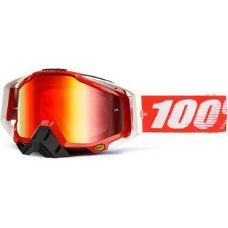 100% Racecraft inkl. Wechselscheibe, fire red/Lens: mirror red - MX Brille