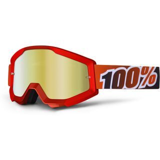 100% Strata, fire red/Lens: mirror gold - MX Brille