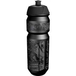 Riesel Design flasche, stickerbomb ultra black - Trinkflasche
