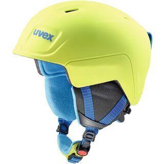 uvex manic pro, lime-blue met mat - Skihelm