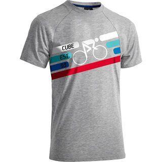 Cube T-Shirt Cyclist, grey melange´n´blue´n´white