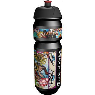 Riesel Design flasche, stickerbomb black - Trinkflasche