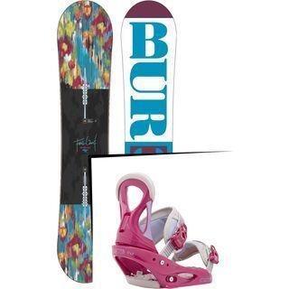 Set: Burton Feelgood Flying V 2016 + Burton Stiletto 2016, Pink/Grey - Snowboardset