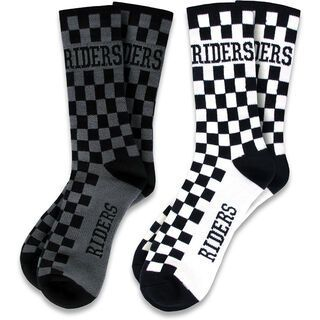 Loose Riders Socks 2-Pack Checkers, black/white & grey - Radsocken