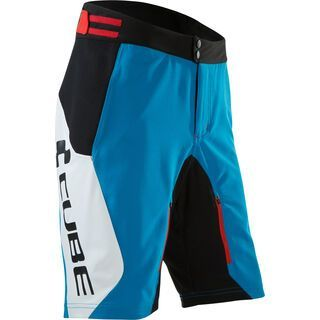 Cube Teamline Shorts, white´n´blue´n´red - Radhose