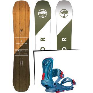 Set: Arbor Coda Rocker Mid Wide 2017 + Ride Capo 2016, slate blue - Snowboardset