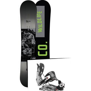 Set: Ride Wild Life 2017 + Flow Fuse Hybrid 2016, grey - Snowboardset