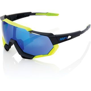 100% Speedtrap, black neon yellow/Lens: electric blue mirror - Sportbrille