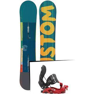 Set: Burton Custom Flying V Wide 2015 + Flow Nexus Hybrid 2016, black/red - Snowboardset