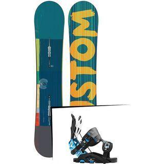 Set: Burton Custom Flying V Wide 2015 + Flow Fuse-GT 2016, black/blue - Snowboardset