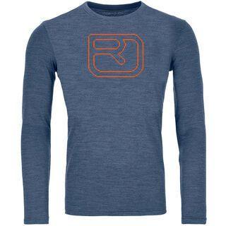 Ortovox 185 Merino Pixel Logo Long Sleeve M, night blue blend - Unterhemd