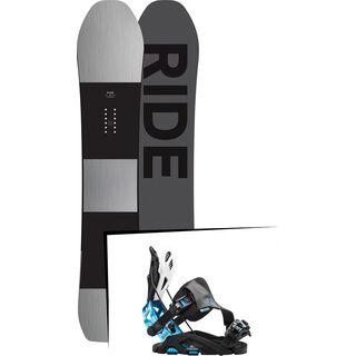 Set: Ride Timeless 2017 + Flow Fuse-GT Hybrid 2016, black/blue - Snowboardset