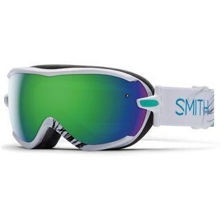 Smith Virtue, white feather/green sol-x mirror - Skibrille