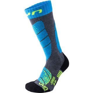 UYN Ski Socks Junior, grey melange/turquoise - Socken