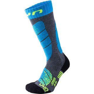UYN Ski Socks Junior medium grey melange/turquoise