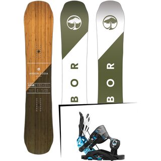 Set: Arbor Coda Rocker Mid Wide 2017 + Flow Fuse-GT 2016, black/blue - Snowboardset