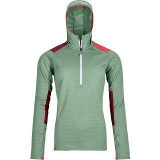 Ortovox Merino Fleece Light Grid Zip Neck Hoody W, green isar - Fleecehoody