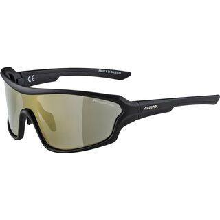 Alpina Lyron Shield P, black matt/Lens: ceramic mirror bronce - Sportbrille