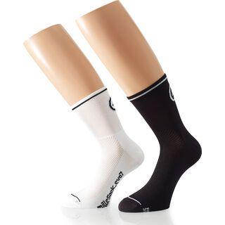 Assos milleSocks evo7 2 pairs, holy white/block black - Radsocken