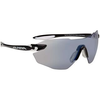 Alpina Twist Four Shield RL VLM+, black white black/Lens: varioflex+ mirror blue - Sportbrille