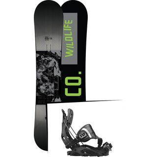 Set: Ride Wild Life Wide 2017 + Flow Fuse Hybrid 2017, black - Snowboardset