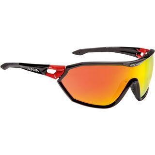 Alpina S-Way, black-red/Lens: ceramic red mirror - Sportbrille