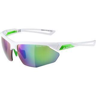 Alpina Nylos HR, white-green/Lens: ceramic mirror green - Sportbrille
