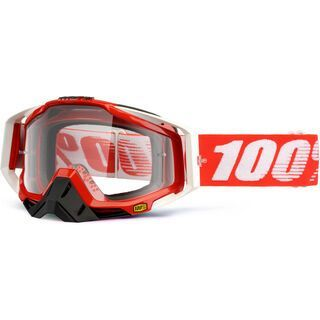 100% Racecraft, fire red/Lens: clear - MX Brille