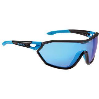 Alpina Alpina S-Way VLM+, black matt-cyan/Lens: blue mirror - Sportbrille