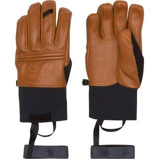 Norrona Røldal Dri PrimaLoft Short Leather Gloves, brown - Skihandschuhe