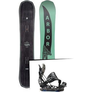 Set: Arbor Element Mid Wide 2017 + Flow NX2-GT Hybrid 2017, black - Snowboardset