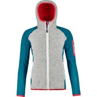 Ortovox Merino Fleece Plus Classic Knit Hoody W, mid aqua - Fleecejacke