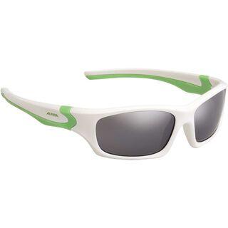 Alpina Flexxy Teen, white-green/black mirror - Sportbrille