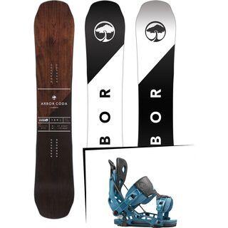 Set: Arbor Coda Camber Mid Wide 2017 + Flow NX2 2016, blue - Snowboardset