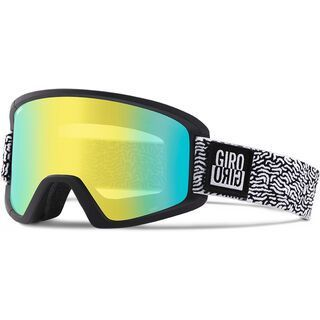 Giro Semi inkl. Wechselscheibe, black white squiggle/Lens: loden yellow - Skibrille