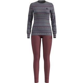 Odlo Set Active Warm X-Mas, grey melange/roan rouge - Unterwäsche-Set