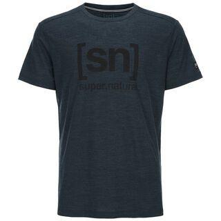 SuperNatural M Essential I.D. Tee, navy blazer melange/print - T-Shirt