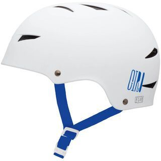 Giro Flak, matte white/blue logos - Fahrradhelm