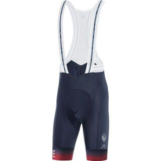 Gore Wear Cancellara kurze Trägerhose+ orbit blue/red