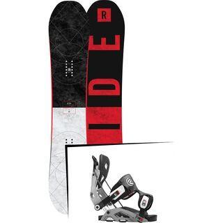 Set: Ride Machete GT 2017 + Flow Fuse 2016, grey - Snowboardset