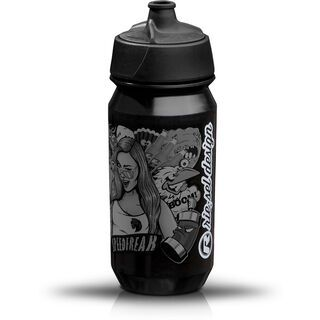 Riesel Design bottle, stickerbomb ultra black - Trinkflasche