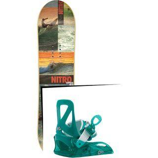 Set: Nitro Ripper Kids 2017 + Burton Grom 2017, sea glass green - Snowboardset