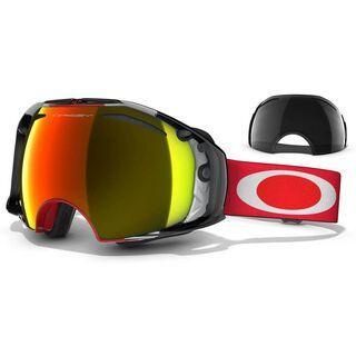 Oakley Airbrake Shaun White, Block Stripes Red/Fire Iridium & Dark Grey - Skibrille